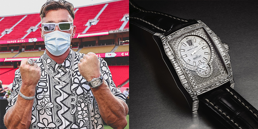 Super Bowl Wrist Check Watches Of Chiefs And Buccaneers Travis Kelce Breitling 2