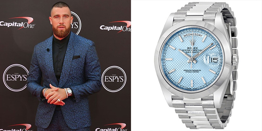 Super Bowl Wrist Check Watches Of Chiefs And Buccaneers Travis Kelce Rolex 2