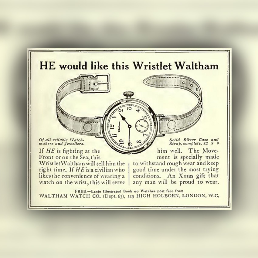 History Of Watch Bands 1914 Waltham Trench Watch